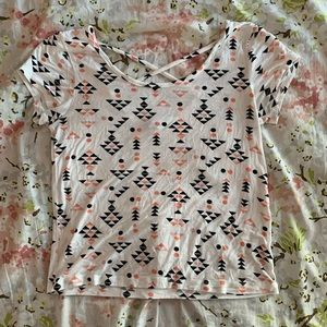 White Patterned Slightly Cropped Top